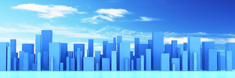 Skyline of a 3d town Stock Images