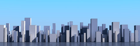 Skyline of a 3d town Stock Photo