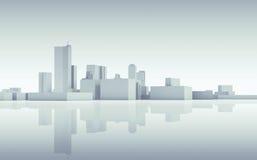 Skyline abstrata da arquitetura da cidade 3d tonificado azul ilustração do vetor