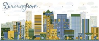 Skyline abstrata de Birmingham (Alabama) com construções da cor Fotos de Stock Royalty Free