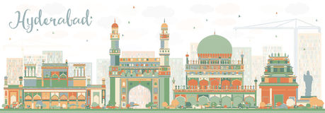 Skyline abstrata de Hyderabad com marcos da cor Imagens de Stock Royalty Free