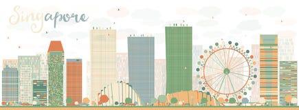 Skyline abstrata de Singapura com marcos da cor Fotos de Stock