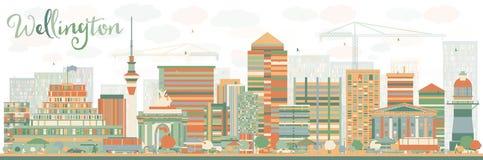 Skyline abstrata de Wellington com construções da cor ilustração stock