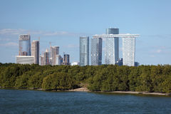 Skyline of Abu Dhabi and mangrove forest Royalty Free Stock Image