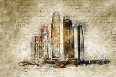 Skyline of abu dhabi in modern and abstract vintage look. Artprint Royalty Free Stock Photos