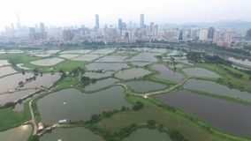 A skyline aerial view of fish pong under smokey Hong Kong next to Shenzhen China stock video