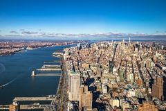 Skyline aerial view of Manhattan with skyscrapers and Hudson River - New York, USA Stock Images