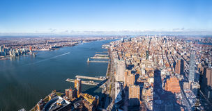 Skyline aerial view of Manhattan with skyscrapers and Hudson River - New York, USA Stock Photography