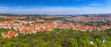 Skyline aerial view of Prague old town, Charles bridge, Prague C. Astle and St Vitus Cathedral and red roofs. Prague, Czech republic stock photography