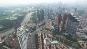 A skyline aerial view of Shenzhen, Lo Wu, China under smokey weather in the evening stock footage