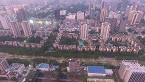 A skyline aerial view of Shenzhen, Lo Wu, China under smokey weather in the evening stock video