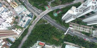 A skyline aerial view of traffic stock footage