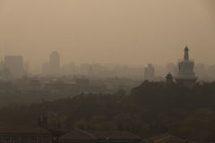 Skyline and air pollution in Beijing city Stock Image
