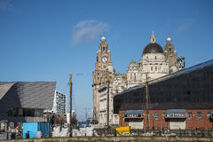 Skyline at the Albert Dock is a complex of dock buildings and warehouses in Liverpool, England. Stock Photos