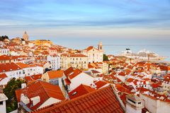 Lisbon Old Town skyline, Portugal Royalty Free Stock Photo