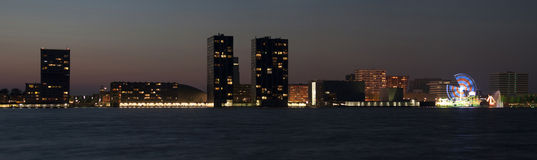 Skyline Almere. Skyline of Almere, Netherlands in the evening Royalty Free Stock Photography