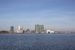 The Skyline of Almere. The Skyline of newtown Almere in the Netherlands royalty free stock images