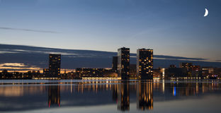 Skyline of Almere. The skyline of Almere by night stock photography