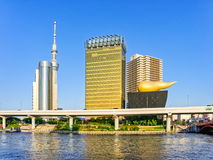 Skyline along Sumida River including Asahi Beer Hall Stock Photography