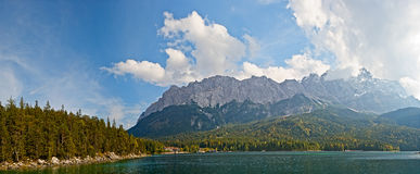 Skyline in the alps. Zugspitz as seen from Eibsee in Bavaria with a dramatic sky Stock Image