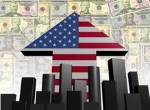Skyline and American arrow flag Stock Image