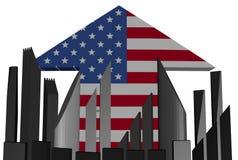 Skyline and American flag arrow illustration Stock Photography