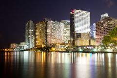 Skyline of apartment buildings at Brickell district in Miami at night. Florida, USA Royalty Free Stock Image