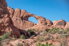 Skyline Arch in Arches National Park, Utah.  Royalty Free Stock Photo