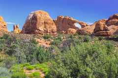 Skyline Arch, Arches National Park, Utah. View of Skyline Arch and other otherworldly rock formations in Arches National Park, Utah Royalty Free Stock Photography