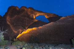 Skyline Arch at Night Moab Utah royalty free stock photography