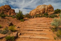 Stairs on the Skyline Arch Trail stock photography