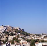 Skyline of Athens with Acropolis stock image