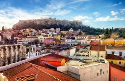 Skyline of Athens with Moanstiraki square and Acropolis hill, Athens Greece stock photography