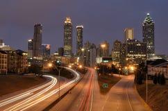 Skyline of Atlanta Georgia. The skyline of Atlanta, Georgia from above Freedom Parkway with corporate logos visible Stock Photos