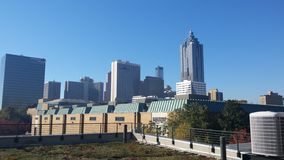 Skyline of atlanta georgia. Beatiful architecture with green roof front age Stock Images