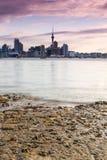 Skyline of Auckland City, New Zealand, at Dusk, Taken Across Harbor royalty free stock image