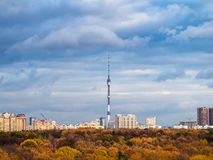Skyline with autumn forest and city royalty free stock photos