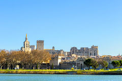 Skyline of Avignon with gothic building of the popes palace Stock Image