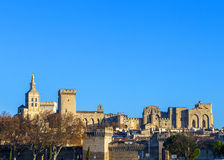 Skyline of Avignon with gothic building of the popes palace Royalty Free Stock Photos