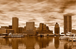 Skyline of Baltimore in sepia,