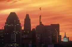 Skyline of Baltimore at Sunset, Maryland Royalty Free Stock Image