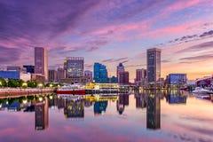 Skyline Baltimores Maryland lizenzfreie stockfotos