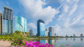 Skyline of Bangkok city. View from Lumpini park Stock Photos