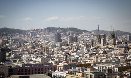 Skyline of Barcelona. Spain, with Cathedral of the Holy Cross in background Royalty Free Stock Images