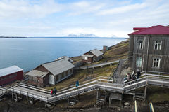 Skyline of Barentsburg, Russian settlement in Svalbard, Norway Royalty Free Stock Images
