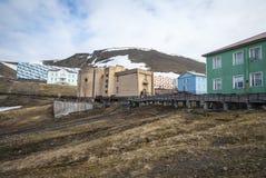 Skyline of Barentsburg, Russian settlement in Svalbard, Norway Stock Photos