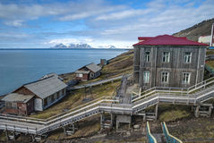Skyline of Barentsburg, Russian settlement in Svalbard, Norway Stock Photo