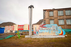 Skyline of Barentsburg, Russian settlement in Svalbard, Norway Royalty Free Stock Photo