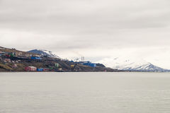 Skyline of Barentsburg, Russian settlement in Svalbard, Norway Royalty Free Stock Photography