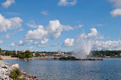 Skyline of Barrie, Ontario. Skyline of Barrie on Kempenfelt Bay in Ontario Royalty Free Stock Photo